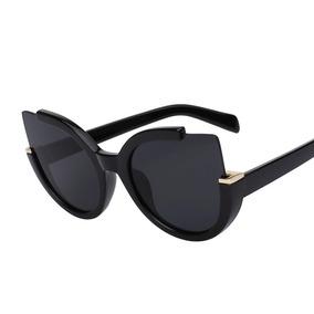 Óculos Feminino Olho De Gato Gatinho Redondo Preto Dourado