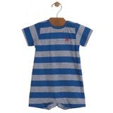 Macaquinho Up Baby Curta Malha Listrado Azul