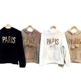 Blusa De Frio Feminina Casaco Capuz Pelinho Paris Ref: 406