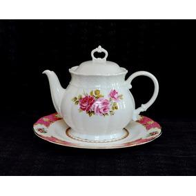 Tetera Porcelana Verbano Modelo Vanna Deco Rosas