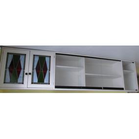 Librero Pared Madera Maciza Y Puertas Vidrio Resistente