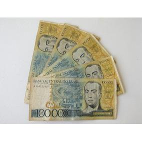 Lote De 5 Cédula Antiga De 100.000 Cruzeiros Juscelino C176