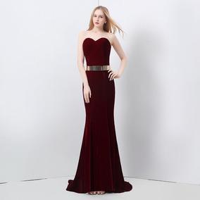 Nuevo Elegante Vestido Rojo De Noche Largo Fiesta Boda Vino
