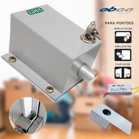 Kit Trava Eletromagnética Portão Com Suporte E Temporizador