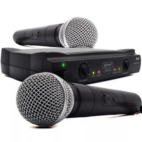 Microfone Sem Fio Duplo Wireless 100mt Vhf Karaokê Kit Com 2