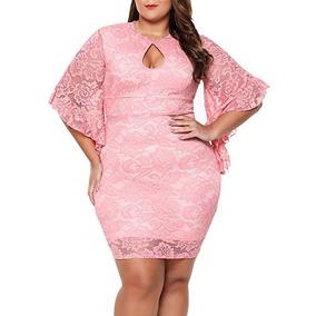 Vestido De Encaje Color Rosa Tallas Grandes De Mujer Lalagen