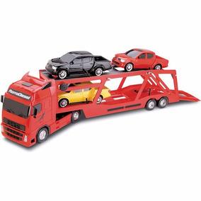 Caminhão De Brinquedo - Cegonheira Com 4 Carros - 82cm