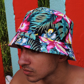 Chapeu Bucket Hat Floral Florido Pesca Praia Preto Laranja 1684becb892