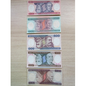 Brasil 5 Cédulas 100-200-500-1000 E 5000 Cruzeiros Fe