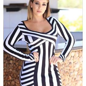 d447b0c0d Vestido Curto Manga Longa Tricô Listrado Modal Moda Feminina