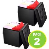 Pack 2 Puff Baul Cojin Organizador Color Negr 07702 Fernapet