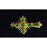 Crucifijo De Oro 18k Con Seis Esmeraldas