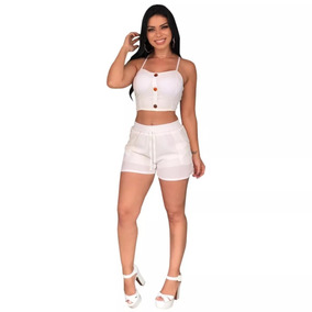 Conjunto Short Cropped Decote Crepe Moda Top Shorts