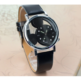 Relógio Mickey Pulseira Couro Preto Feminino Rg004f