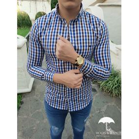 Camisa Slim Fit Cuadros Azul Y Café, Blanca Moon & Rain