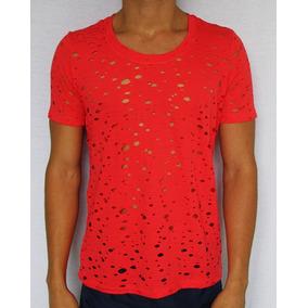 Camiseta Furadinha Masculina - Camisetas Manga Curta no Mercado ... a7addf340fd
