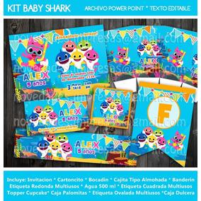 Kit Imprimible Baby Shark. Invitación Etiquetas Candy Fiesta