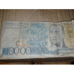 Nota Antiga Do Banco Central Dobrasil De Cem Mil Cruzeiros