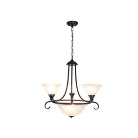 Lámpara Colgante Clásico 5 Luces Marrón Rojizo Óxido