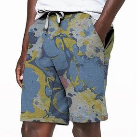 Bermuda Moletom Calção Shorts Verão Psicodelico Acid Retro