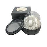 Compacto Powder Puff Con Mini Lata De Metal Plateado Y Tamiz