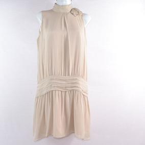 Zara Woman Vestido Beige Cuello L Mrsp$800