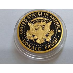 Moneda Dolar Donald Trump Usa Esmaltada Y Bañada En Oro S/c