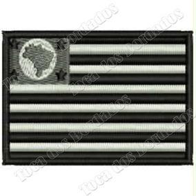 Patch Bordado Bandeira São Paulo Negativa 5x7cm Sp Bde30