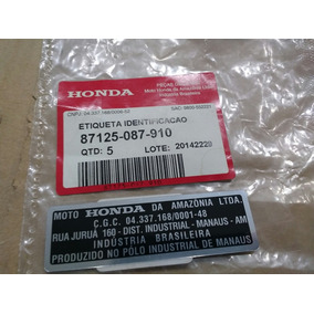 Etiqueta Identificação Chassi Honda 21x74mm Aluminio C/frete