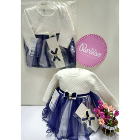 Kit Paraiso Vestido Bebe Menina + Faixa Cabelo - Cod 7164