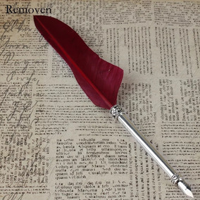 Caneta Tinteiro Pena Vermelha Com Tinta
