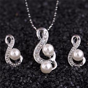 Set Joyería Notas Musicales Perlas Cristales Zirconia S-085