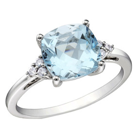 Topacio Azul Y Diamante 2.5 Quilates (ctw) Anillo De 10k Oro