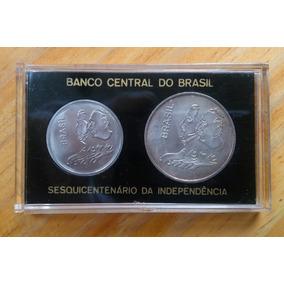 Estojo Moedas 1 E 20 Cruzeiros 1972 Prata Independência