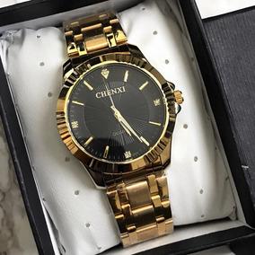 Relógio De Luxo De Qualidade Cor Ouro Prova Dágua F/ Grátis