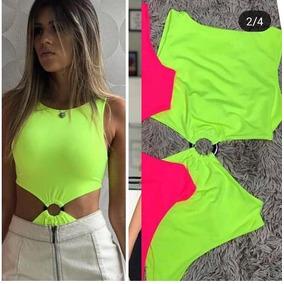 Body Bori Feminino Neon Tendencia Moda Verão Roupas Feminina