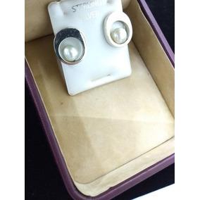 Aretes De Plata Con Perlas 925