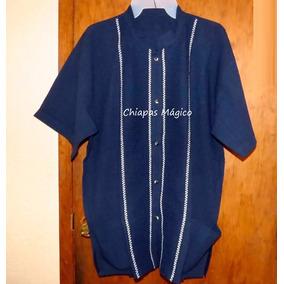 Camisa De Chiapas / Manta / Talla Xl / Azul Marino / Líneas