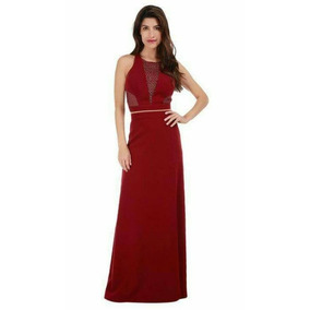 Vestido (conjunto) Largo, Para Fiesta De Noche, Color Vino.