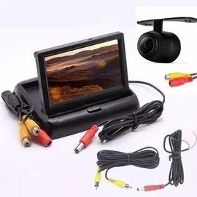 Tela Monitor Veicular 4.3 Vídeo Lcd Com Camera Ré E Cftv
