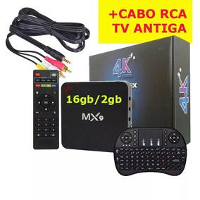 Smart Tv Box Mx9 4k 2gb Ram 16gb 2018 + Teclado + Cabo Av