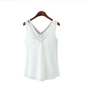 Polera Gasa Blusa Camiseta Top Blanca Sin Mangas