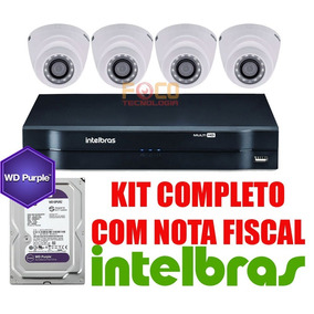 Kit Segurança Dvr 8 Canais 4 Cam 20m Hd Purple 2tb Intelbras