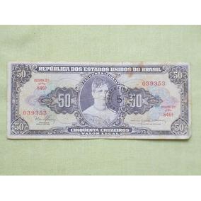 Nota Cedula 50 Cruzeiros Carimbada 5 Centavo Princesa Isabel