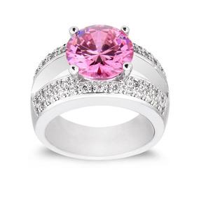 7 - Pink - Las Mujeres Anillo De Piedras De La Cz Rosa -4003