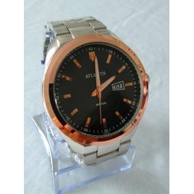 b9f73e8fe85 Relógio Dourado Prateado Masculino Atlantis G-3197 Original