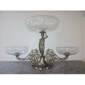 Fruteira De Petit Bronze Com 3 Pratos Lapidados