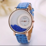 cea0d53043f Relógio Feminino Pulseira De Couro Detalhe Em Pedrinhas Azul