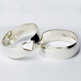 Par Alianças Prata 950 Compromisso Namoro Coração Vazado