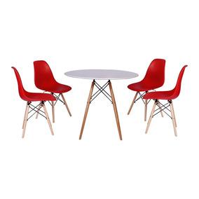 Kit Mesa Jantar Eiffel 90cm Branca + 4 Cadeiras Eames Eiffel